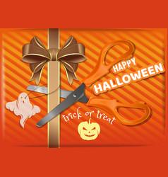 Orange gift box for halloween halloween design vector