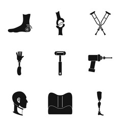 orthopedic disease icon set simple style vector image