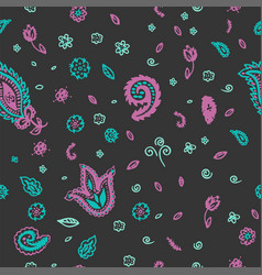 paisley indian flower seamless pattern vector image