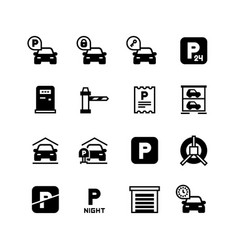 parking car icons parking zone symbols vector image