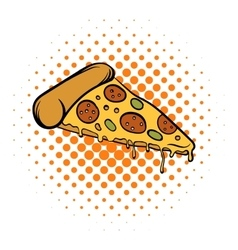 Pizza slice comics icon vector image
