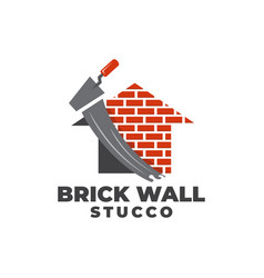 Plastering brick wall house logo icon vector