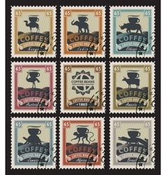 Postage stamps with coffee beans vector