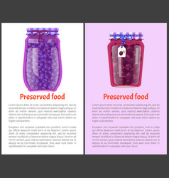 Preserved food poster canned plums and blueberries vector