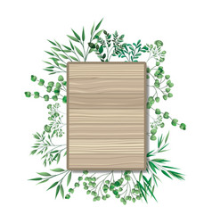Rectangle wooden with branches and leafs vector