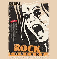 Rock concert poster design template with mad singe vector