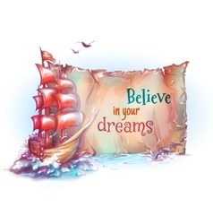 sail ship in ocean with vector image