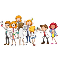 Scientists in different positions vector image