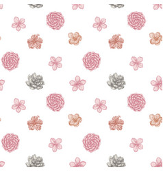 seamless pattern with hand drawn pastel hibiscus vector image