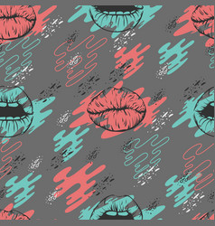 seamless pattern with lips and vector image