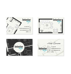 Set business cards for an interior designer vector