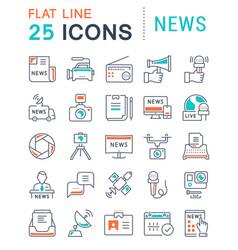 set flat line icons news vector image