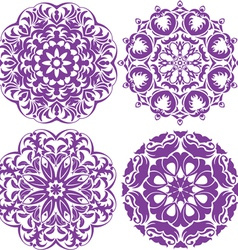 Set of 4 one color round ornaments Lace floral pat vector image