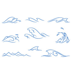 set of a simple stylized ocean waves vector image