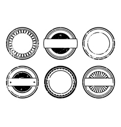 Set of blank black rubber stamps vector