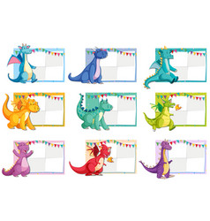 Set of dinosaur paper concept vector