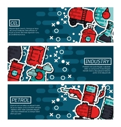 Set of Horizontal Banners about oil industry vector image