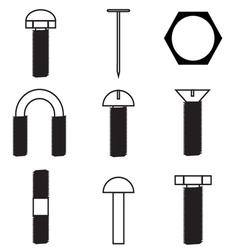 Set of screws icon vector image