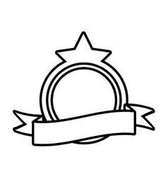 Shield decorative star frame outline empty vector