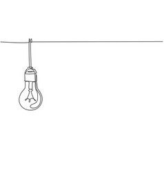 single continuous line drawing light bulb hang vector image