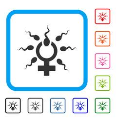 Sperm penetration framed icon vector