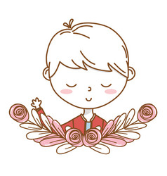 Stylish boy cartoon outfit portrait floral wreath vector