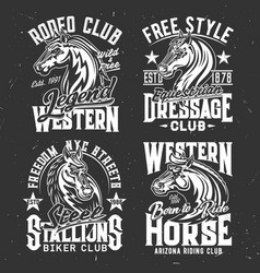 t-shirt prints horse stallion equestrian sport vector image