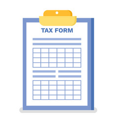 tax form clipboard with table and empty space vector image