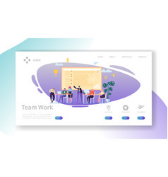 Team work landing page banner with business people vector