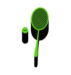 Tennis racquet with ball sign green 3d vector