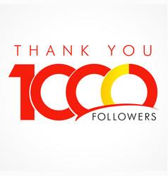 Thank you 1000 followers logo concept vector