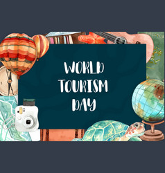 Tourism frame design with turtle globe camera vector