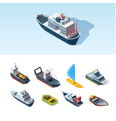 transport sea isometric set cargo tanker vector image