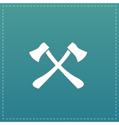 Two axes with wooden handles vector