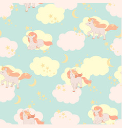 unicorns seamless pattern elements vector image