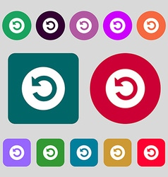 Upgrade arrow icon sign 12 colored buttons flat vector