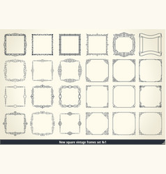vintage calligraphic frame set black and white vector image