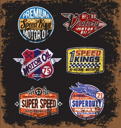 Vintage Motor Oil Signs and Label Set vector