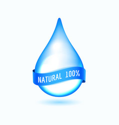 water drop with blue ribbon vector image