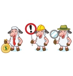 White Sheep Mascot with money vector