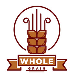 Whole grain product emblem with small wheat ear vector