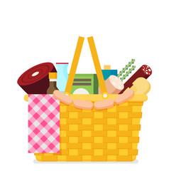 Wicker picnic basket flat vector
