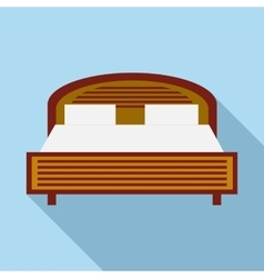 Wood double bed icon in flat style vector image