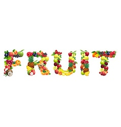 Word fruit composed of different fruits with vector