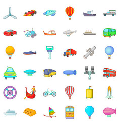 Working transport icons set cartoon style vector
