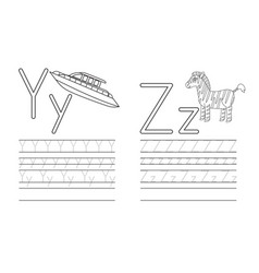 writing practice letters yz coloring book vector image