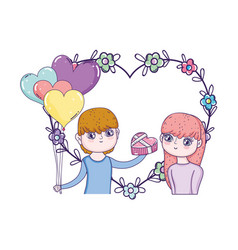 young lovers couple with balloons helium vector image