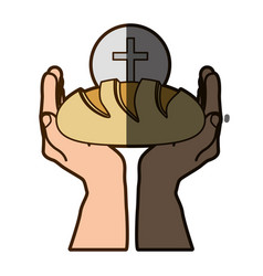 color silhouette of hands holding bread with vector image vector image