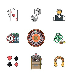colored outline various gambling icons collection vector image