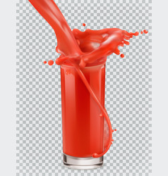 glass of red juice and a splash tomato vector image vector image